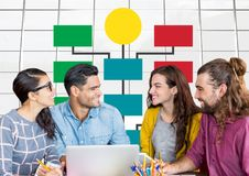 Group meeting and Colorful mind map over bright windows background Royalty Free Stock Image