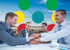 Group meeting and Colorful mind map over city background Royalty Free Stock Photos