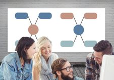 Group meeting and Colorful mind map over whiteboard background Stock Image