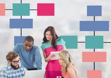 Group meeting with mind map and computers Royalty Free Stock Images