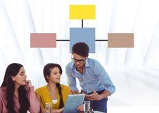 Group meeting with mind map and laptop Stock Photos