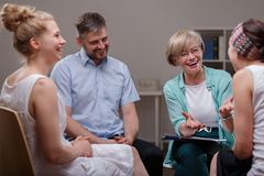 Group during meeting with therapist Stock Photography