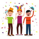People celebration fools day. Group men with accessories celebration fools day vector illustration Royalty Free Stock Photos