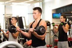 Group of men with barbells in gym. Sport, fitness, lifestyle and people concept - group of men with barbells in gym Royalty Free Stock Image