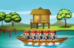 A group of men boating Stock Photo
