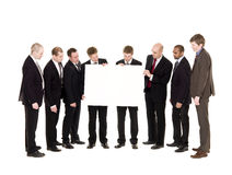 Group of men with a clean sign Royalty Free Stock Photos