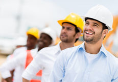 Group of men at a construction site Royalty Free Stock Photos