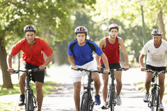 Group Of Men On Cycle Ride Through Park Stock Photography