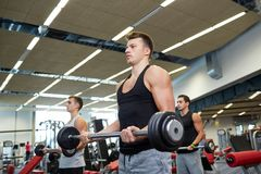 Group of men flexing muscles with barbell in gym Stock Images