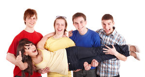 Group men hold girl on hands. Thumbs up. Stock Photography