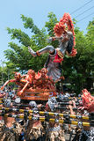 Group of men holding traditional sculpture. Nyepi ceremony in Ba Stock Photo