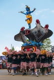 Group of men holding traditional sculpture. Nyepi ceremony in Ba Stock Images