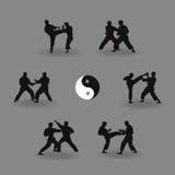 Group of men karate demonstrate. Illustration, group of men karate demonstrate Stock Images