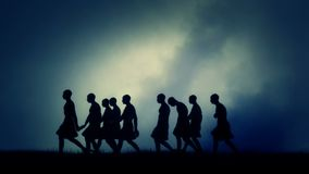 Group of Men Migrating in Ancient Civilization stock footage