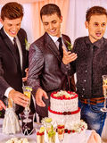 Group men people at stage party Stock Photo