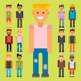 Group of men portrait different nationality friendship character team happy people young guy person vector illustration. Stock Images