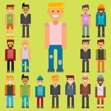 Group of men portrait different nationality friendship character team happy people young guy person vector illustration. Royalty Free Stock Images