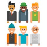Group of men portrait different nationality friendship character team happy people young guy person vector illustration. Stock Photo