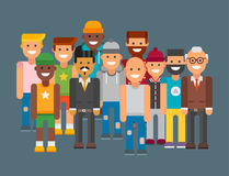 Group of men portrait different nationality friendship character team happy people young guy person vector illustration. stock illustration