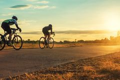 Group of  men ride  bicycles at sunset with sunbeam. Over silhouette trees background Royalty Free Stock Photo