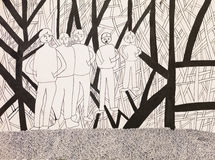 Group of men shouting, psychedelic background. Hand drawn ink illustration of group of men on a psychedelic ackground Royalty Free Stock Images
