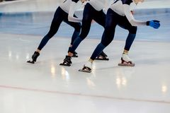 Group men speed skaters Stock Images