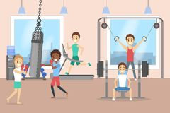Group of men training in the gym stock illustration
