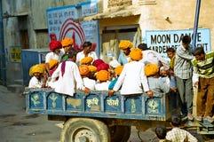 Men and Turbans in Pushkar, Rajasthan India. A group of men with turbans in a wagon, Pushkar, Rajasthan India Royalty Free Stock Photos