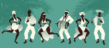 Group of men and women dancing and playing latin music. On tropical background with palm trees Royalty Free Stock Photography