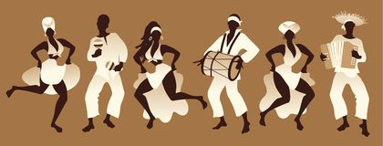Group of men and women dancing and playing music. Group of men and women dancing and playing latin or afro american music Royalty Free Stock Image