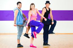 Dancer at Zumba fitness training in dance studio royalty free stock photo