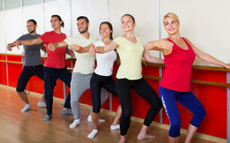 Group of men and women practicing at the ballet barre stock image