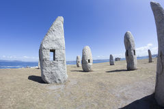 Group Menhirs in La Coruna, Spain Royalty Free Stock Photography