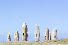 Group Menhirs in La Coruna, Spain Stock Photo