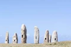 Group Menhirs in La Coruna, Spain Stock Image