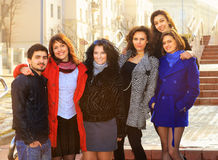 Group of merry students. Royalty Free Stock Images