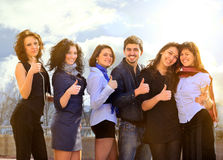 Group of merry students. Royalty Free Stock Photo