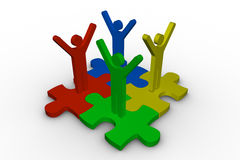 Group of meshed jigsaw pieces with colorful human representation. On white background Stock Image