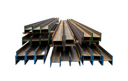 Group of metal beams are isolated on a white background Stock Photo