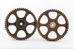 Group of metal gears. A group of metal gears on a white background Stock Images