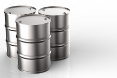 Group of metal oil barrels Stock Images