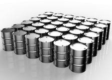 Group of metal oil barrels stock illustration