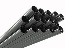 Group metal pipe on a white background Stock Photography