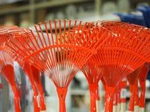 Group of metal rake heads. Group of red metal rake heads royalty free stock image