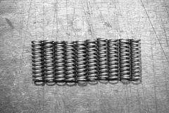 Group of metal spring. In the factory Stock Photography