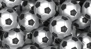 Group of metallic soccer balls Stock Image