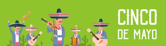 Group Of Mexican Musicians In Traditional Clothes With Sombrero And Maracas Cinco De Mayo Festival Poster Design. Flat Vector Illustration vector illustration