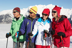 Group Of Middle Aged Couples In Mountains. Group Of Middle Aged Couples On Ski Holiday In Mountains royalty free stock image