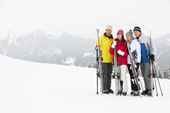 Group Of Middle Aged Couples On Ski Holiday. In Mountains stock photos