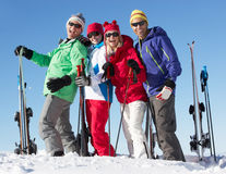 Group Of Middle Aged Couples On Ski Holiday. In Mountains royalty free stock image